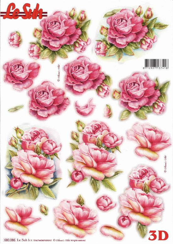 Pink Roses Die Cut 3d Decoupage Sheet From Le Suh - NO CUTTING